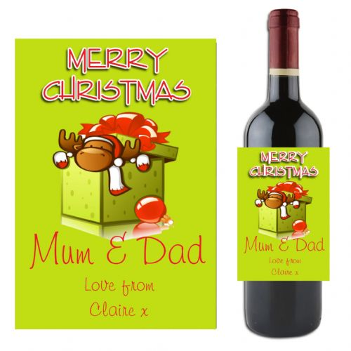 Personalised Christmas Wine / Champagne Bottle Label N4